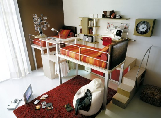 Chambre A Coucher Jaune : Idee Deco Chambre Ado Mansardee  Loft Beds for Teens Bedroom Ideas