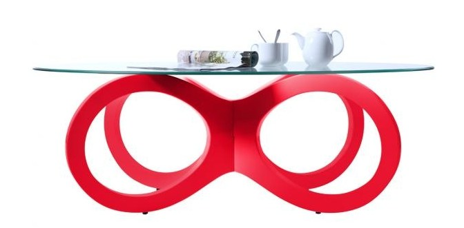 Table basse design rouge butterfly miliboo