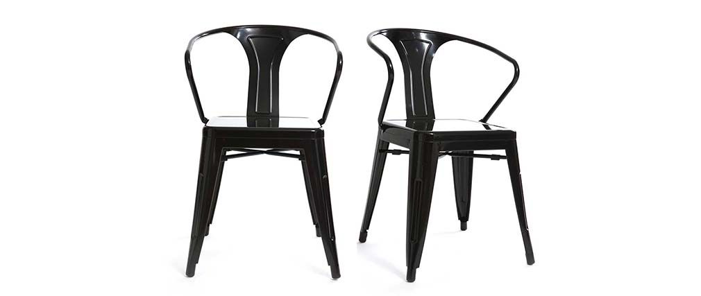 Lot de 2 chaises industriels noires FACTORY
