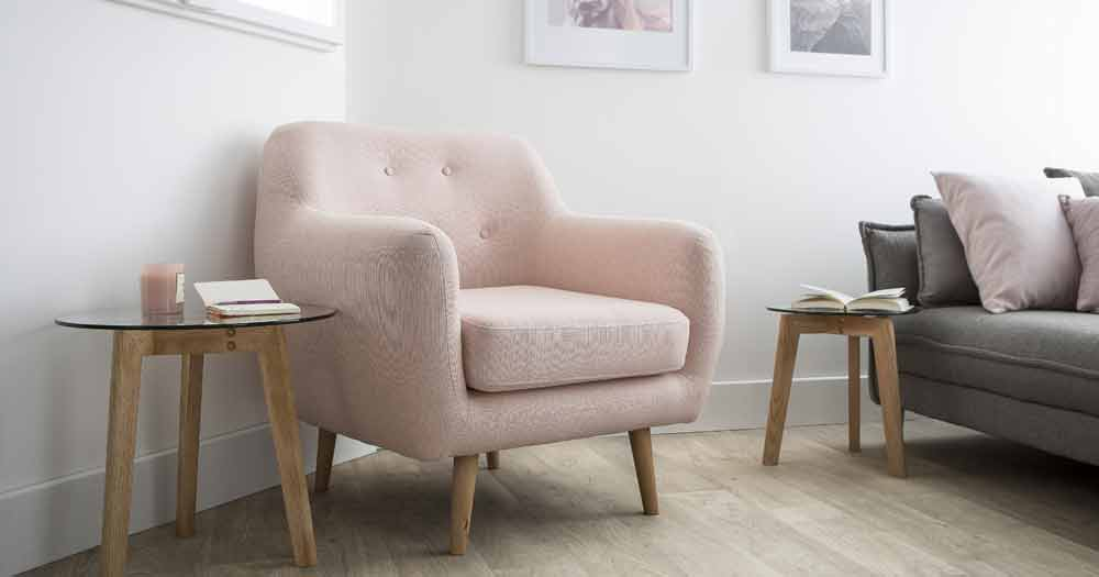 Fauteuil scandinave rose pale OLAF